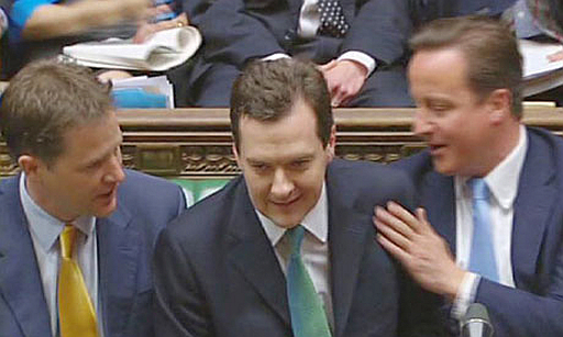 Nick Clegg, George Osborne, David Cameron on front bench