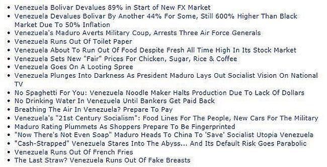 Some typical Venezuelan headlines