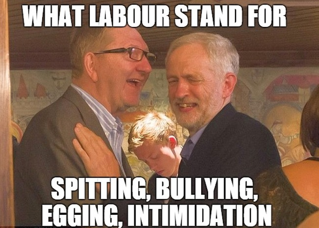 Corbyn with his boss and a child